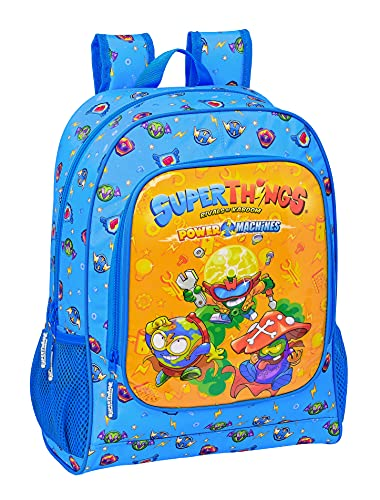 Safta Mochila Escolar de Superthings Serie 7, 320x140x420 mm, Azul/Multicolor