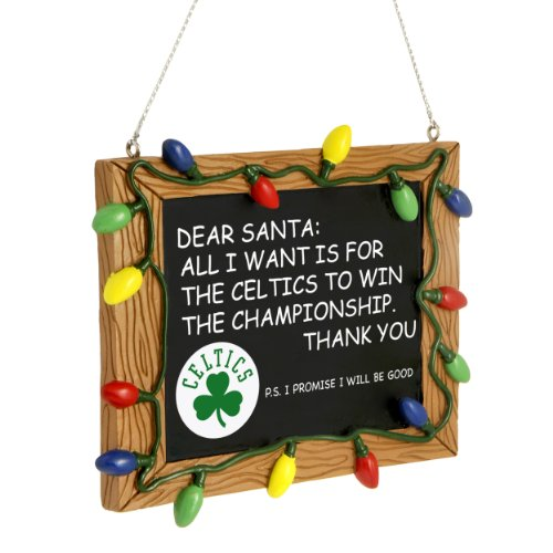 FOCO NBA Boston Celtics Team Logo Holiday Christmas Resin Chalkboard Ornament, Team Color, One Size