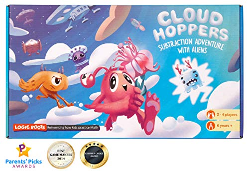 Logic Roots Cloud Hoppers Addition and Subtraction Games, Stem Toys for 6 Year Olds and up, Spelling Mistakes on The Box No Impact on Game Play and Math