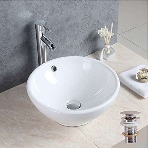 Seasofbeauty luxueuse Vasca da tavolo in ceramica lavabo rotondo bianco con bonde pop-up, ADH2703F09-UK