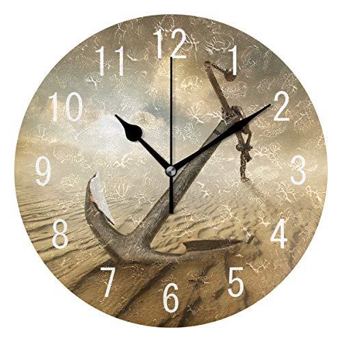 Use7 Wanduhr, Motiv Anker in der Wüste, Acryl, rund, nicht tickend, geräuschlose Uhr, Kunst für Wohnzimmer, Küche, Schlafzimmer