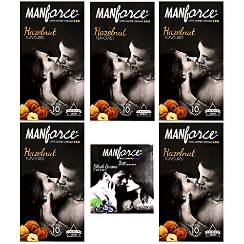 Manforce Condom Hazelnut Flavour Condom 10 pcs Set of 5 and Blackgrapes 3 Pcs Set of 1