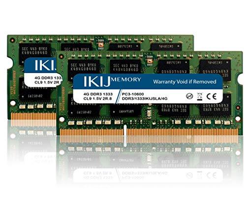 IKIJMEMORY Compatible with iMac,Mac Mini PRO Laptop DDR3 1333MHz PC3-10600 Non-ECC 1.5V CL9 2RX8 Dual Rank,204Pin SODIMM Laptop Memory (8GB Kit 2X4GB)