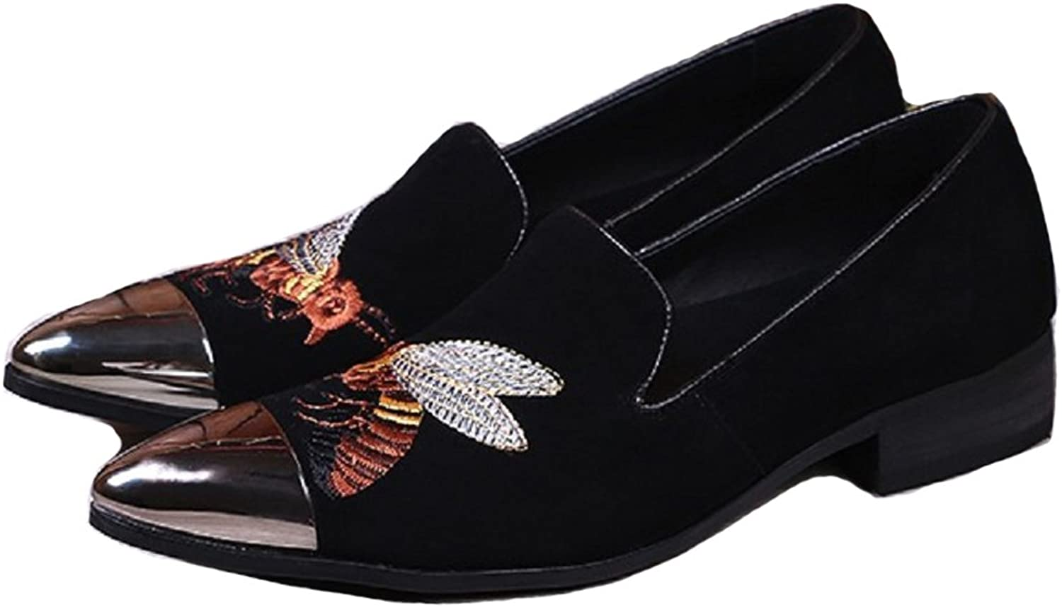 Cover Plus Size 5-12 New Black Embroidered Suede Genuine Leather Dress Loafers Mens shoes