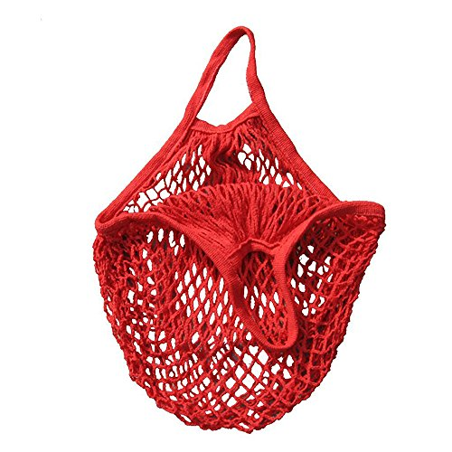 Shopping Mesh Bag Reusable Cotton Bags Market String Net Bag Organizer Shopping Produce Bags Beach Bags Mesh Bags for Grocery Shopping Outdoor Packing Storage Fruit Vegetable Red A