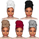 fani 5 Pieces Stretch Jersey Head Wrap Stretchy Knit Turban Headwraps Extra Long Hair Scarf Urban African Head Wrap Head Band Solid Color Ultra Breathable Soft Turban Tie for Women