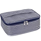 Travel Makeup Bag Large Cosmetic Bag Make up Case Organizer for Women and Girls (Blue Stripe)