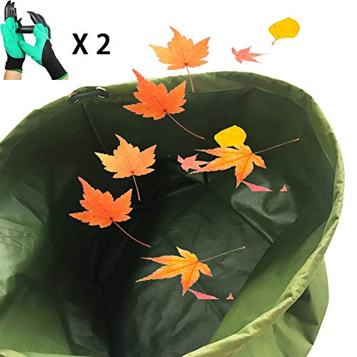LJIANW Garden Waste Bags, 125L Heavy Duty Green Leaf Bag With Handles, Waterproof Canvas Fabric For Weeds Leaves Rubbish With 2 Gloves (Color : 4PCS, Size : 22x18inch)