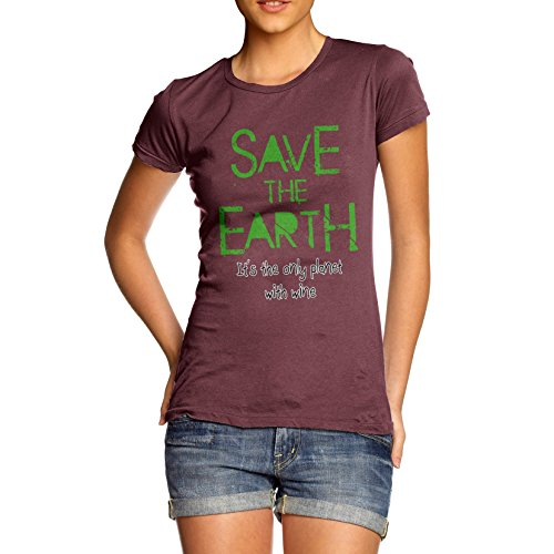 TWISTED ENVY Damen Save The Earth Baumwolle T-Shirt Gr. Small, burgunderfarben
