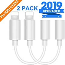 Lighting to 3.5 mm Headphone Adapter Earphone Earbuds Adapter Jack 2 Pack, Compatible with iPhone 11 Pro Max X/XS/Max/XR 7/8/8 Plus Plug and Play Tripod Mount Rings