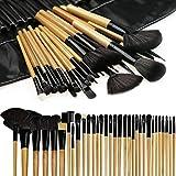 Makeup Brushes, FlatLED Makeup Brush Set, 32 PCS Profesional Wooden Synthetic Cosmetics Makeup Brush Kit with Leather Case, Foundation Eyeliner Blending Concealer Eyeshadow Face Powder Blush (Wooden)
