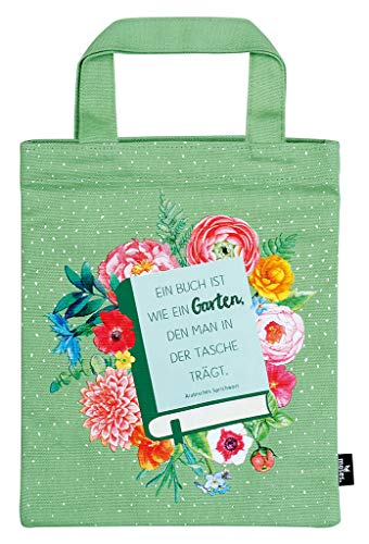 moses. libri_x Büchertasche Garten | Tragetasche aus 100% Baumwolle | Für Buchliebhaber Sporttasche, 24 cm, Grün