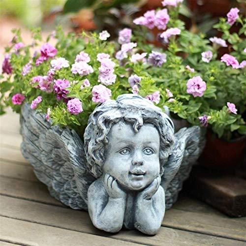 Home Decoration Sculpture Flower Pot Angel Flower Pot Retro Cute Potted Creative Flower Pot Potted Ornaments Miniature Fairy Garden Decors Art Craft Potted Hanger (Color : Gray, Size : 553422cm)