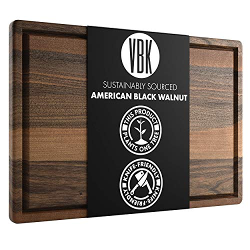 Large Walnut Wood Cutting Board by Virginia Boys Kitchens - 17x11 American Hardwood Chopping and Carving Countertop Block with Juice Drip Groove