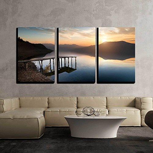 3 Piece Fishing River Canvas Wall Art