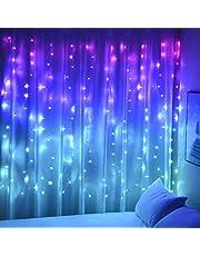 Lichtgordijn voor meisjes, slaapkamer, wandtapijt, eenhoorn, zeemeermin, 160 leds, roze, blauw, paars, verlichting voor feestjes, kerstdecoratie
