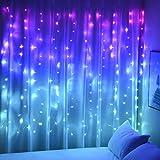 Cortina de Luces para niñas Dormitorio Tapiz Unicornio Sirena 160 Luces LED...