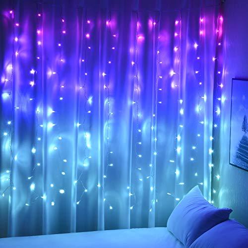 Vorhang Lichterkette für Mädchen Schlafzimmer Einhorn Meerjungfrau 160 LED Rosa Lila Blau für Party...