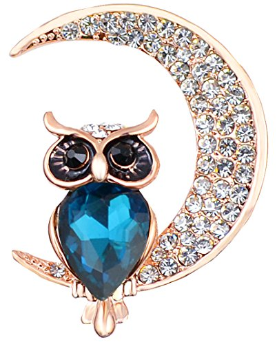 FENGJI Vintage Style Owl Shape Brooch Pin Rhinestone Covered Scarves Shawl Clip for Women Ladies 3 Colors Gold Multi-Blue
