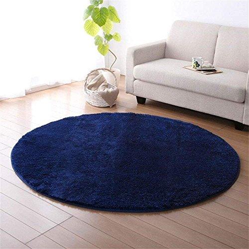 CAMAL Alfombras, Redonda Alfombra Material de Lana de Seda Artificial Alfombras para Dormitorio y Baño (120cm, Azul Oscuro)