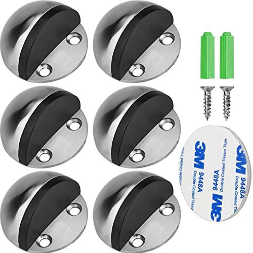 6 Piezas Tope de Puerta, Topes para Puertas Acero Inoxidable con Tornillos y Pegamento de 3M para Parachoques Protección de Pared y Muebles