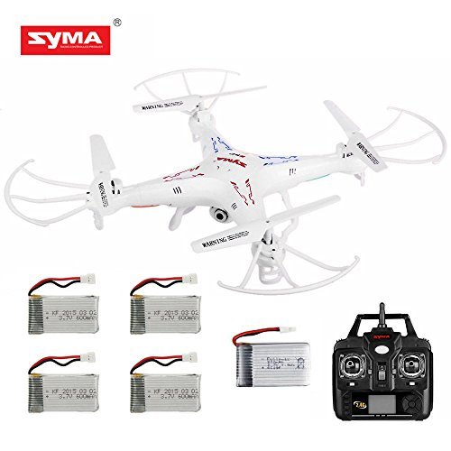 Amazingbuy - Syma X5C-1 2.4Ghz 6-Axis Gyro RC Quadcopter Drone UAV RTF UFO with HD Camera - New Updated Upgraded Version X5C-1 4GB Memory Card Total 5 Batteries