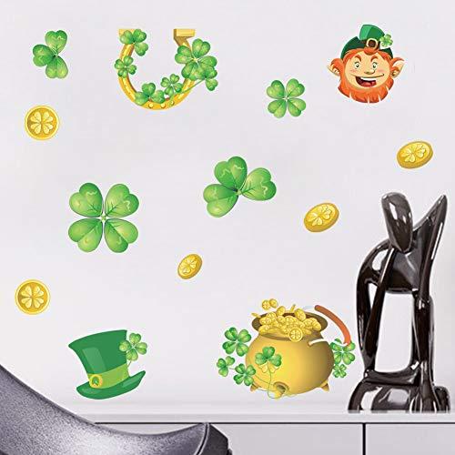 Etiqueta engomada verde de la moneda de oro de la venta al por mayor de la pared del comercio exterior del casquillo del trébol