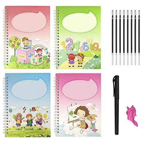 4 Cuadernos Reutilizables de Caligrafía Mágica, Juego de Cuaderno de Escritura a Mano para niños, con 1 Bolígrafo 8 Recargas y 1 Portalápices