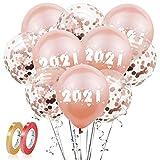 WELLXUNK Banner Folienballon,Silvester Dekoration Set 40 Stück 2021 Anzahl Foil Ballons,Happy New Year Banner für Neujahr Silvester Party Deko (Roségold)