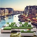 Papel tapiz 3D personalizado Venecia agua ciudad vista nocturna foto papel tapiz mural dormitorio...