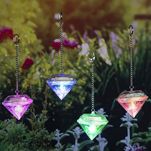 4x Solarleuchte Garten Dekoration Kristall 8 cm hoch - Farbwechsel - bunt - solarbetrieben - Diamant - Deko Aussen - LED Licht- Sonnenfänger - Gartenleuchte - Gartendeko - hängend - 4er Set - Balkon