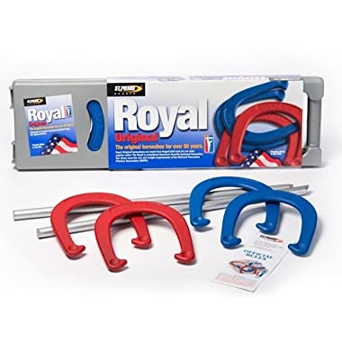 St. Pierre Royal Classic Horseshoes Set with 4 Horseshoes, 2 Steel Stakes, and Rule Book