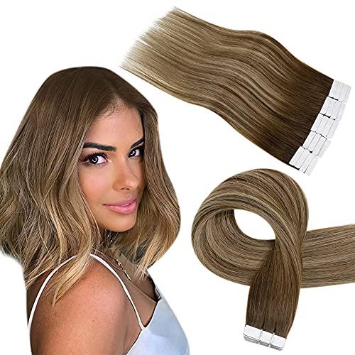 Easyouth Hair Extensions Cheveux Humain Couleur Brun Moyen se Fanant au Blond Miel Ombre Ruban Extensions Naturel Adhesive Cheveux de Vrais Extensions 30g 12Pouce 20pcs