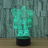 Cambio de color led decoración fresca robot lámpara de escritorio 3D color de regalo luz de noche LED niños ilusión de sueño USB iluminación indirecta luz de humor luz de noche