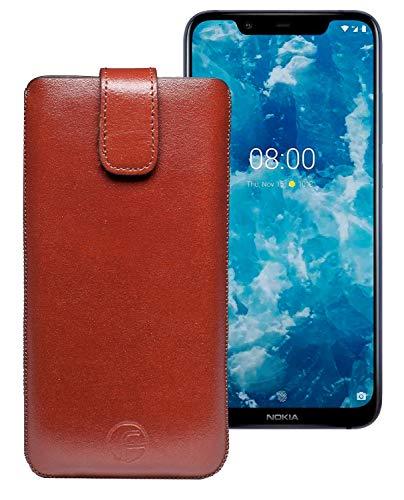 Favory Tasche Etui für Nokia 8.1   Hülle Schutzhülle (Lasche mit Rückzugfunktion) braun