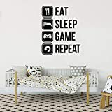 Eat sleep game repetir juego vinilo joystick juego tablero arte de la pared...