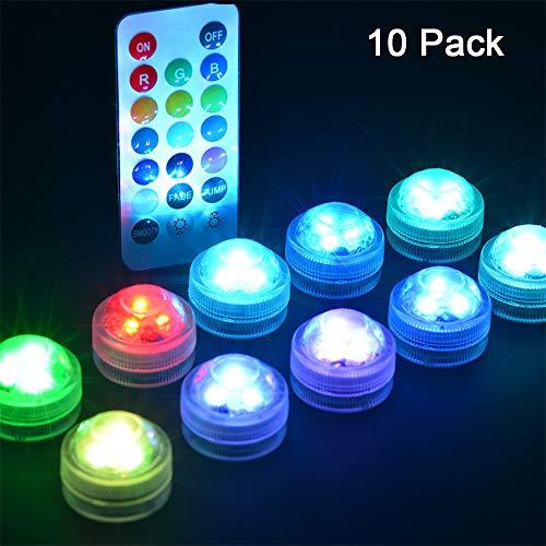 SUNSHIN Luz subacuática Nocturna Luz de Piscina Mini LED RGB Sumergible, con el Control Remoto, para Piscina de jardín, Luces de Decoraciones de peceras