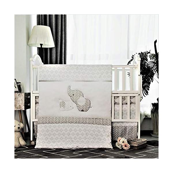 La Premura Baby Elephants Nursery Crib Bedding Sets – Gray Elephants & Puppy 3 Piece Standard Size Grey Crib Set – Unisex Nursey Bedding and Neutral Decor