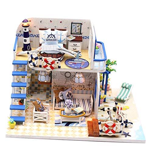 perfeclan Proyecto en Miniatura Hecho a Mano de Bricolaje Casa de Muñecas de Madera Villa Escala 1/24