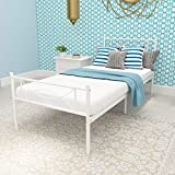 SimLife Metal Bed Frame Solid 6 Legs Two Headboards Mattress Foundation Steel Support No Box Spring Needed Sturdy Under-Bed Storage,Twin Size Beds for Kids Adults White