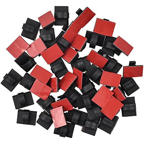 Fodlon Organizador Cables Mesa Oficina 50pcs Clips de Cable Autoadhesivos Sujeta Cables Adhesivo Negro Abrazaderas de Pared para Cable Organizador Cables Escritorio Organizar Cables PC/TV/Red/Coche