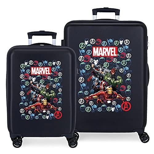Marvel Los Vengadores Avengers Team Juego de Maletas Azul 55/68 cms Rígida ABS Cierre de combinación Lateral 104 6 kgs 4 Ruedas Dobles Equipaje de Mano