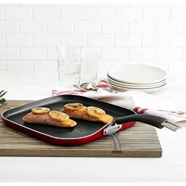 Epicurious Aluminum Nonstick 12-Inch Square Griddle in Red