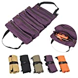 TUXI Tool Roll Pouch, Heavy Duty Wrench Roll with 5 Zipper Pockets, Canvas Pliers Organizer, Socket Organizer, Tool Roll Bag, Car Seat Back Organizer (Purple)