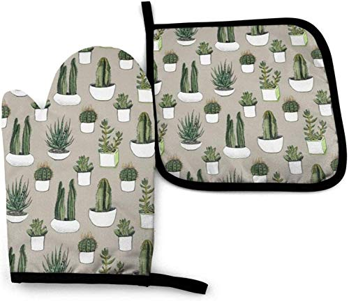 Twifon Watercolour Cacti &Amp; Succulents - Beige Oven Mitts and Pot Holders Potholders for Kitchens...