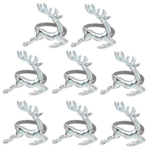Amosfun 8pcs Christmas Napkin Rings Reindeer Napkin Holders Serviette Buckles for Xmas Holiday Party Dining Table Decoration (Silver)