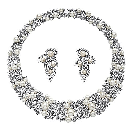 Palm Beach Jewelry White Simulated Pearl and Crystal Rhodium-Plated Choker Necklace and Earrings Set 16'