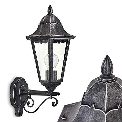 Buitenwandlamp Lignac, wandlamp naar boven in antieke look, gegoten aluminium in zwart/zilver met helder glas, wandlamp met E27 fitting, max. 60 Watt, retro/vintage buitenlamp voor terras en binnenplaats