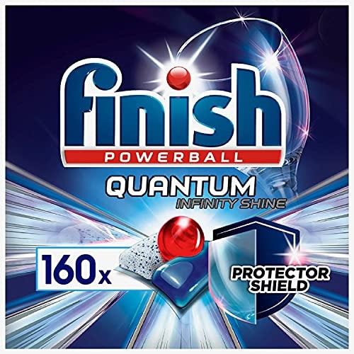 Finish Quantum Infinity Shine Spülmaschinentabs – Kraftvolle Reinigung mit besonderer Schutzformel für Gläser, Dekor, Silberbesteck – Gigapack mit 160 Finish Tabs