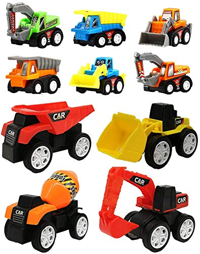 WISHKEY 10 Pcs Construction Vehicles Pull Back Toy Cars Playset,Truck Model Kit for Children Toddler Kids Mini Engineering Educational Toys
